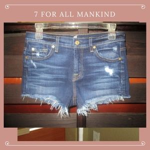 7 For All Mankind Denim Cut Off Distressed Shorts